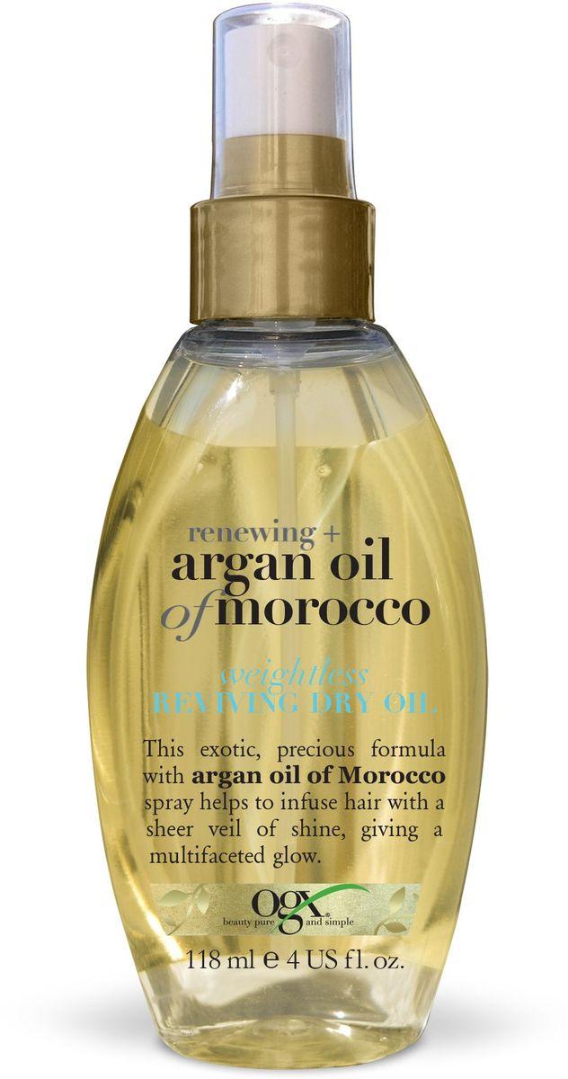 OGX Легкое сухое аргановое масло для восстановления волос, 118 мл.97620Невесомое сухое масло для восстановления волос с экстрактом Арганы - помогает восстановить секущиеся кончики и укрощает непослушные волосы. Обволакивают волосы прозрачной вуалью, придавая блеск и сияние.