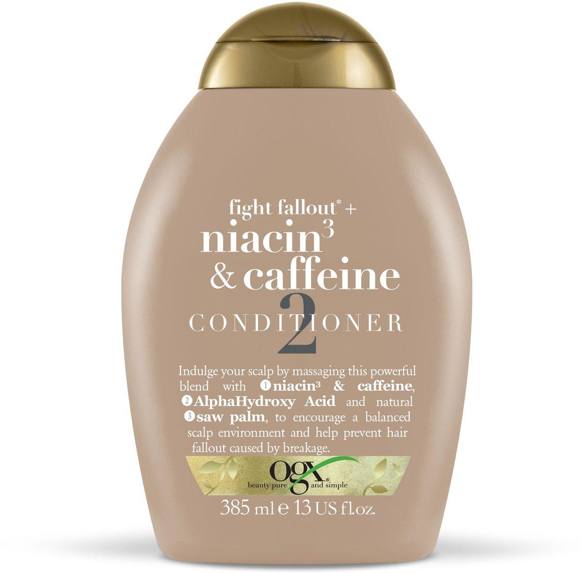 OGX Кондиционер против выпадения волос с ниацином 3 и кофеином, 385 мл.97762Кондиционер против выпадения волос с ниацином 3 и кофеином помогает поддерживать кожу голову в здоровом состоянии, стимулирует волосяные фолликулы и предотвращает выпадение и ломкость волос.