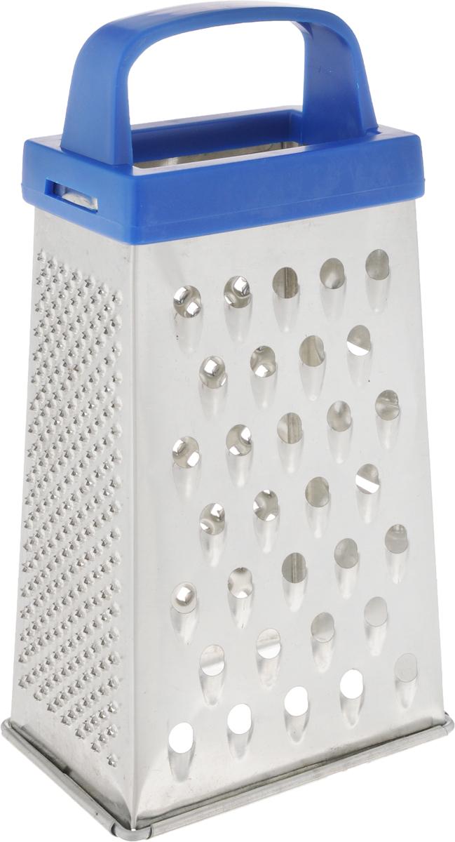 Терка Top Star, четырехгранная, цвет: синий, стальной, высота 17 см290383Четырехгранная терка Top Star, выполненная из высококачественной хромированной стали, станет незаменимым атрибутом приготовления пищи. Терка оснащена удобной пластиковой ручкой. На одном изделии представлены четыре вида терок - крупная, средняя, мелкая и нарезка ломтиками. Современный стильный дизайн позволит терке занять достойное место на вашей кухне. Высота терки: 17 см. Размер основания: 8,8 х 6,2 см.