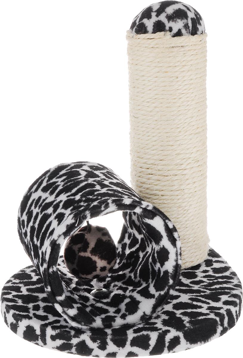 Игрушка для кошек Triol Столбик и туннель, цвет: черный, белый, 24 х 21 х 23 смNT-154_черный/белыйИгрушка Столбик и туннель - это забавная когтеточка, разработанная компанией Triol. Данные когтеточки пользуются особенным вниманием у кошек, ведь о них можно не только поточить коготки, но и весело поиграть. Внутри туннеля подвешен мягкий шарик, с которым ваш питомиц с удовольствием будет играть. Когтеточка изготовлена из сизаля. Когтеточки - обязательный аксессуар для личной гигиены кошек, который помогает животным избавиться от мешающихся шелушащихся слоев когтя, причиняющих дискомфорт подушечкам лап. Кроме того волокна сизаля - натуральный растительный продукт, который не только является очень крепким и стойким к повреждениям, но также имеет отталкивающее бактерии покрытие, благодаря чему абсолютно безвреден для кошек. Размеры игрушки: 24 х 21 х 23 см.