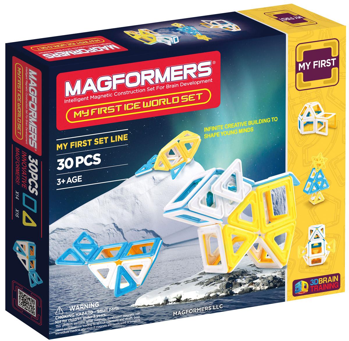 Magformers Магнитный конструктор Ice World63136Вы без ума от хрупких снежинок и сверкающих льдов? С набором Magformers Ice World вы перенесетесь в царство вечных снегов, не выходя из комнаты. С помощью квадратов и треугольников, выполненных в специальных бело-желтых и бело-голубых тонах, так легко собрать иглу, полярных медведей, тюленей, пингвинов и даже снежного человека. Придумывайте и воплощайте в жизнь свою зимнюю сказку! Конструктор отлично подойдет для ознакомления с магнитными конструкторами Magformers. Красочно иллюстрированная инструкция, сопровождающая набор, позволит маленьким строителям с легкостью освоить азы конструирования. Конструктор также станет прекрасным дополнением к уже имеющимся наборам. Набор Magformers My Ice World содержит 30 элементов. Наборы Magformers выгодно отличаются от других конструкторов тем, что внутри каждого элемента находятся магниты. В процессе соединения деталей магниты сами поворачиваются друг к другу нужной стороной, что делает процесс сборки таким легким и удобным. Магниты...