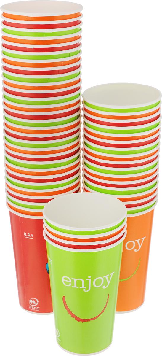 Набор одноразовых стаканов Huhtamaki Enjoy, 400 мл, 50 шт. ПОС31509ПОС31509Одноразовые стаканы Huhtamaki Enjoy изготовлены из ламинированной плотной бумаги и оформлены оригинальным рисунком. Изделия предназначены для подачи холодных напитков. Вы можете взять их с собой на природу, в парк, на пикник и наслаждаться вкусными напитками. Несмотря на то, что стаканы бумажные, они очень прочные и не промокают. Диаметр стакана (по верхнему краю): 8,5 см. Высота стакана: 13,5 см.