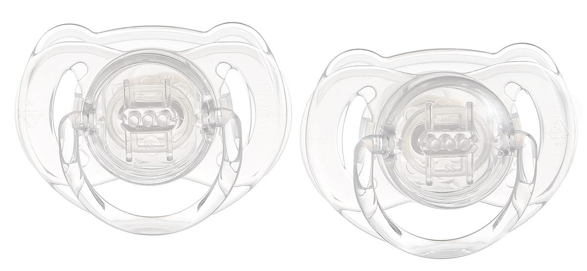 Philips Avent Пустышка силиконовая Classic, ортодонтическая, от 6 до 18 месяцев, цвет: прозрачный, 2 шт SCF170/22SCF170/22