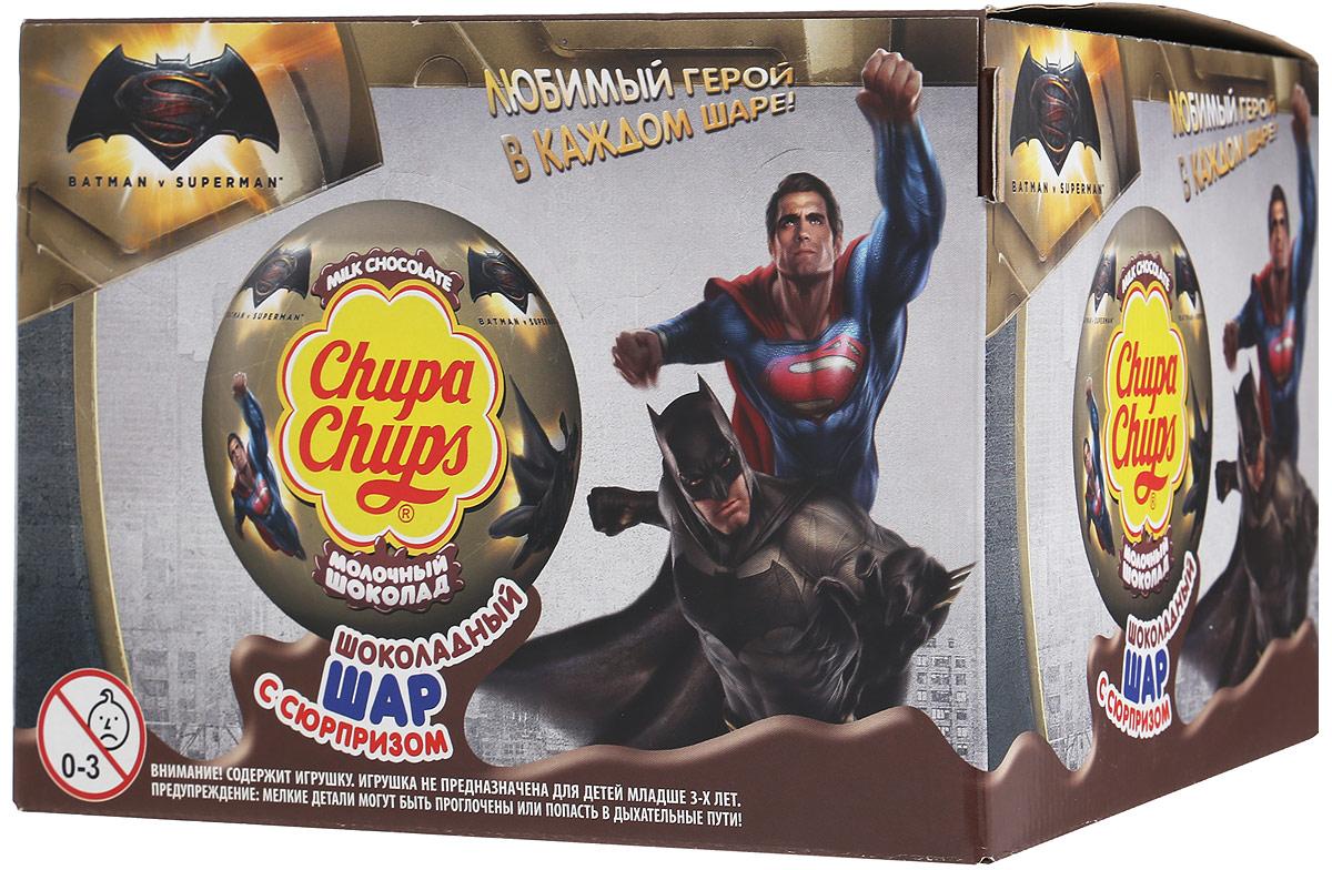 Chupa Chups Бэтмен и Супермен молочный шоколад, 18 штук по 20 г8253028Внутри каждого шоколадного шара Chupa Chups вы найдете новую игрушку, а снаружи - именно такой шоколад, как вы любите. Какая игрушка попадется в этот раз? Соберите всю коллекцию и обменивайтесь с друзьями! Уважаемые клиенты! Обращаем ваше внимание, что полный перечень состава продукта представлен на дополнительном изображении. Игрушка не предназначена для детей младше трех лет.