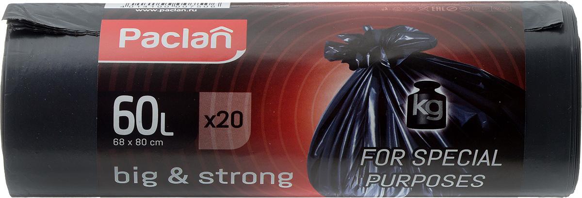 Пакеты для мусора Paclan Big & Strong, 60 л, 20 шт132397Пакеты для мусора Paclan Big & Strong имеют высокую толщину и плотность материала, что позволяет применять их для выноса большого количества мусора при проведении строительных и ремонтных работ, сезонных уборок уличных территорий. Специальные прочные и удобные завязки помогут легко завязать пакет. Пакеты в рулоне, отрываются строго по линии отрыва. Размер пакета: 68 х 80 см.