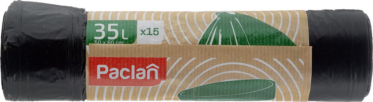 Пакеты для мусора Paclan Eco Line, с завязками, 35 л, 15 шт133770Пакеты для мусора Eco Line имеют высокую толщину и плотность материала, что позволяет применять их для выноса большого количества мусора при проведении строительных и ремонтных работ, сезонных уборок уличных территорий. Специальные прочные и удобные завязки помогут легко завязать пакет. Пакеты в рулоне, отрываются строго по линии отрыва. Размер пакета: 50 х 60 см.