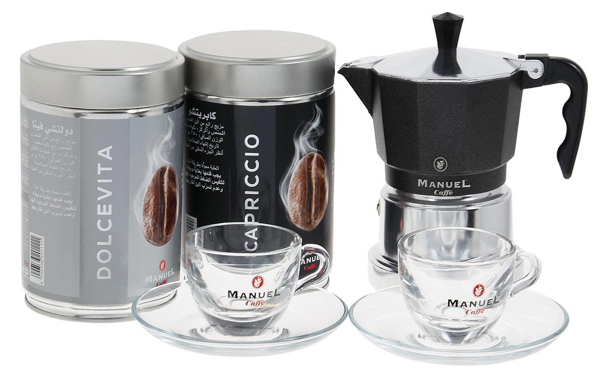 Manuel Caffe Gift Box Black подарочный набор молотого кофе, 1,5 кг8006536201531Подарочный набор молотого кофе Manuel Caffe Gift Box Black представлен известной итальянской компанией Manuel, которая предлагает всем любителям душистого кофе познать волшебный мир итальянского кофе и побаловать себя роскошным подарком. Подарочный набор состоит из двух упаковок отменного итальянского кофе - Capriccio и Dolce Vita (по 250 грамм, в металлических банках), маленькой кофеварки, при помощи которой можно приготовить чашку ароматного напитка и двух кофейных пар эспрессо. Кофеварка, выполненная в современном стиле, станет изысканным дополнением в интерьере вашей кухни, а крепкий напиток, сваренный в таком стильном аксессуаре, подарит минуты бесподобного удовольствия.