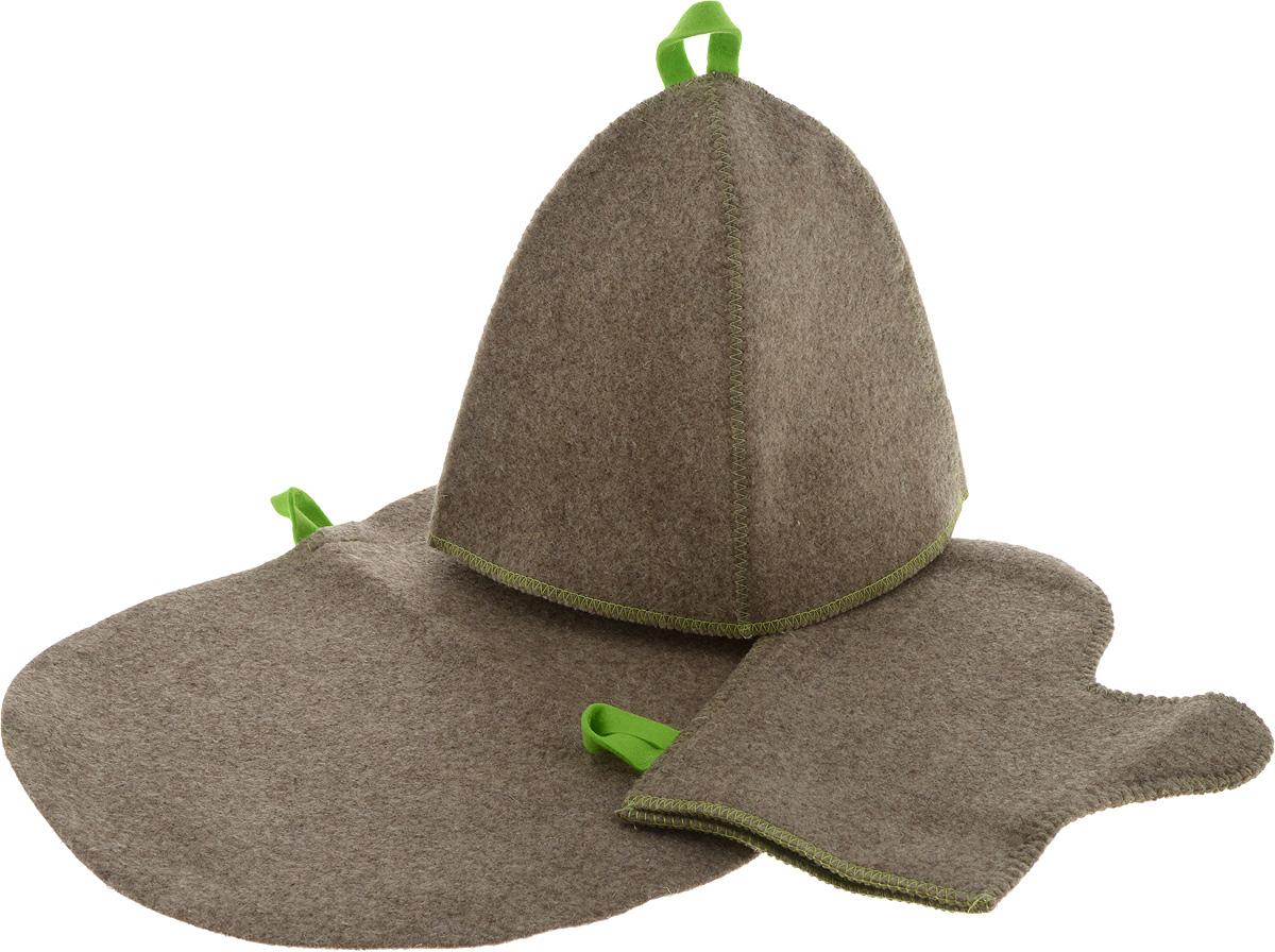 Комплект для бани и сауны, суровыйБ16-1Комплект для бани и сауны включает в себя шапку, рукавицу и коврик. Шапка защитит Вас от появления головокружения в бане, Ваши волосы от сухости и ломкости, а голову от перегрева. Рукавица убережет Ваши руки от горячего пара и поможет прекрасно промассировать тело. Коврик является средством личной гигиены, защищает открытые части тела парильщика от перегретых поверхностей полок, лавок в парной бани и сауны. Характеристики: Материал: шерсть. Длина рукавицы: 29 см. Ширина рукавицы: 16 см. Размер коврика: 44 см х 33 см. Диаметр основания шапки: 34 см. Высота шапки: 24 см. Производитель: Россия. Артикул: Б16-1.