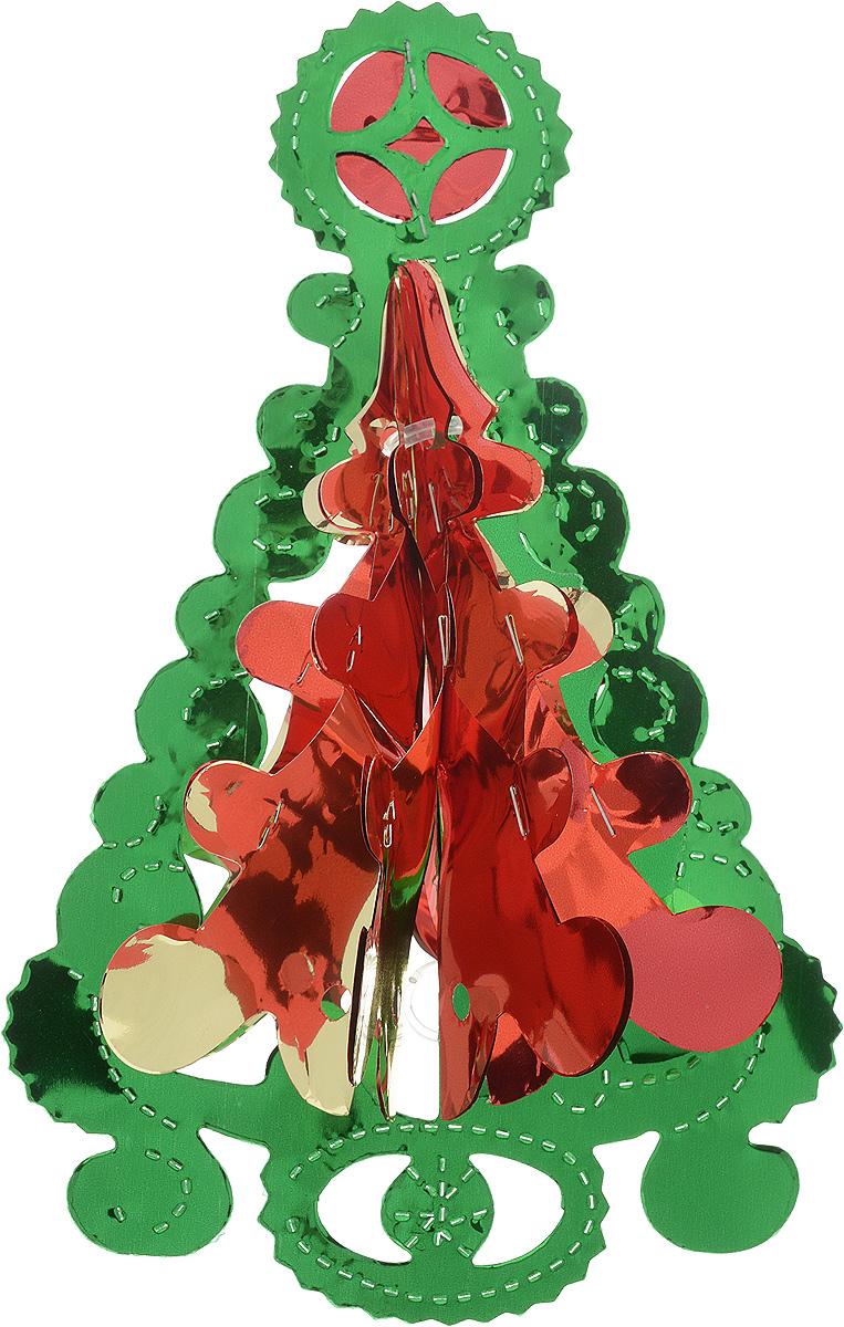 Украшение новогоднее подвесное Winter Wings Елочка, цвет: красный, зеленый, золотистый, высота 23 смN09184_красный, зеленый, золотистыйНовогоднее украшение Winter Wings Елочка прекрасно подойдет для декора дома и праздничной елки. Изделие выполнено из ПВХ. С помощью специальной петельки украшение можно повесить в любом понравившемся вам месте. Легко складывается и раскладывается. Новогодние украшения несут в себе волшебство и красоту праздника. Они помогут вам украсить дом к предстоящим праздникам и оживить интерьер по вашему вкусу. Создайте в доме атмосферу тепла, веселья и радости, украшая его всей семьей. Размер украшения: 15 х 11 см. Высота украшения: 23 см.