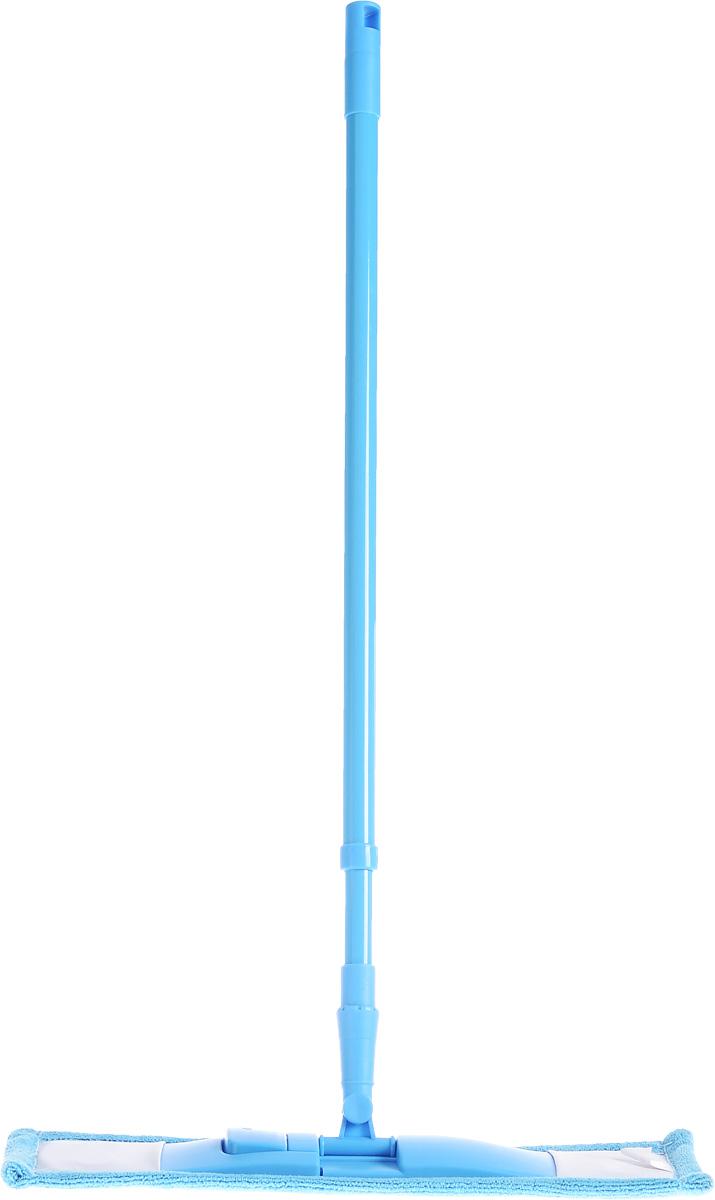 Швабра Home Queen Еврокласс, с телескопической ручкой, цвет: голубой, 73-126 см. 7006170061_голубойШвабра Home Queen Еврокласс, выполненная из высококачественной стали, полипропилена, полиэстера и полиамида, идеально подходит для мытья всех типов напольных поверхностей: паркет, ламинат, линолеум, кафельная плитка. Материал насадки - микрофибра, обладает высокой износостойкостью, не царапает поверхности и отлично впитывает влагу. Кроме того, сверхтонкое волокно микрофибры состоит из двух полимеров, соединенных в одну нить. Один из полимеров обладает свойством притягивать жирные и маслянистые вещества, таким образом, масло и жир прилипают непосредственно к волокнам насадки, что позволяет во многих случаях не использовать при уборке чистящие средства. Благодаря своей структуре, шенилловая насадка отлично моет углы. Телескопический механизм ручки позволяет выбрать необходимую вам длину, а также сэкономить место при хранении. Насадку можно стирать вручную или в стиральной машине с мягким моющим средством без использования кондиционера и...