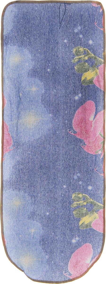 Чехол для гладильной доски Detalle Розовые орхидеи, 125 х 47 смЕ1301_розовые орхидеиЧехол для гладильной доски Detalle, выполненный из хлопка с подкладкой из мягкого войлокообразного полотна (ПЭФ), предназначен для защиты или замены изношенного покрытия гладильной доски. Чехол снабжен стягивающим шнуром, при помощи которого вы легко отрегулируете оптимальное натяжение чехла и зафиксируете его на рабочей поверхности гладильной доски. Из войлокообразного полотна вы можете вырезать подкладку любого размера, подходящую именно для вашей доски. Этот качественный чехол обеспечит вам легкое глажение. Он предотвратит образование блеска и отпечатков металлической сетки гладильной доски на одежде. Войлокообразное полотно практично и долговечно в использовании. Размер чехла: 125 x 47 см. Максимальный размер доски: 120 х 42 см. Размер войлочного полотна: 130 х 52 см.