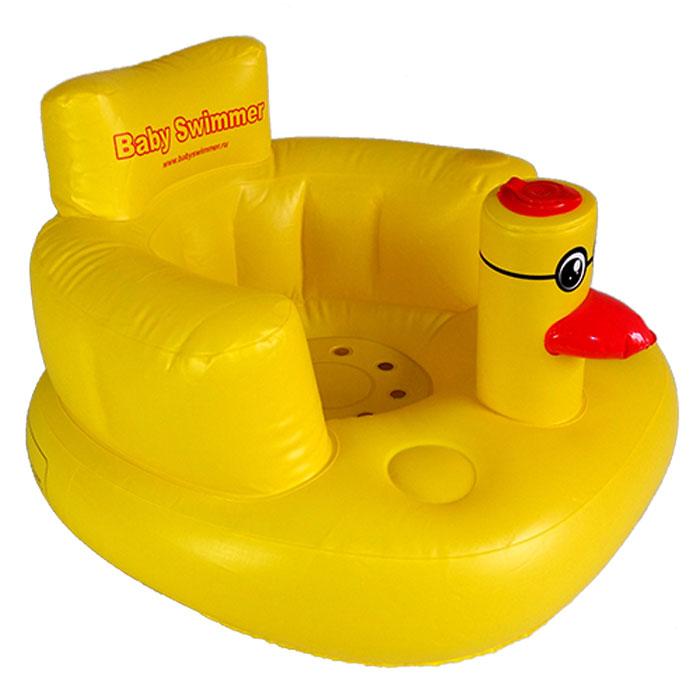 Baby Swimmer Надувное детское креслоBSC-01Надувное детское кресло станет незаменимым предметом во время купания. Усадив в него ребенка в большой ванне можно не бояться, что вода и мыльная пена попадет ребенку в глазки, носик или ушки. Сиденье с высокой спинкой и подголовником надежно удержит малыша, не позволяя ему соскользнуть в воду. Мягкий эластичный материал и отсутствие выступающих швов обеспечивают тактильный комфорт и не травмируют нежную детскую кожу. Собираясь в дорогу с детьми, важно заботится о их безопасности и обеспечить максимально удобные условия. Любимое надувное кресло поможет создать видимость домашней обстановки и малыш проще отнесется к неудобствам, связанным с дорогой. Персональное кресло просто необходимо во время отдыха на природе, ведь такое место для сидения гораздо эффективнее множества матрасов, пледов или одеял, расстеленных просто на траве. Детям в надувных креслах будет сухо, мягко и комфортно на пикнике в парке, на берегу озера и на песчаном морском пляже. Надувается изделие с помощью...