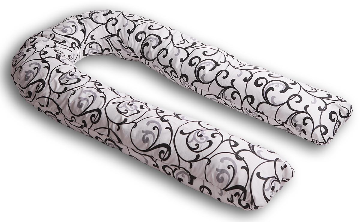 Body Pillow Чехол для подушки для беременных U-образный цвет белый черныйU90х150 бел-чернСъемная наволочка на молнии бело-серого цвета с черным и серебристым узором «Вензеля» из плотного поликаттона, которая будет очень эффектно смотреться в любом интерьере. Состав 50% хлопок, 50% полиэстер.
