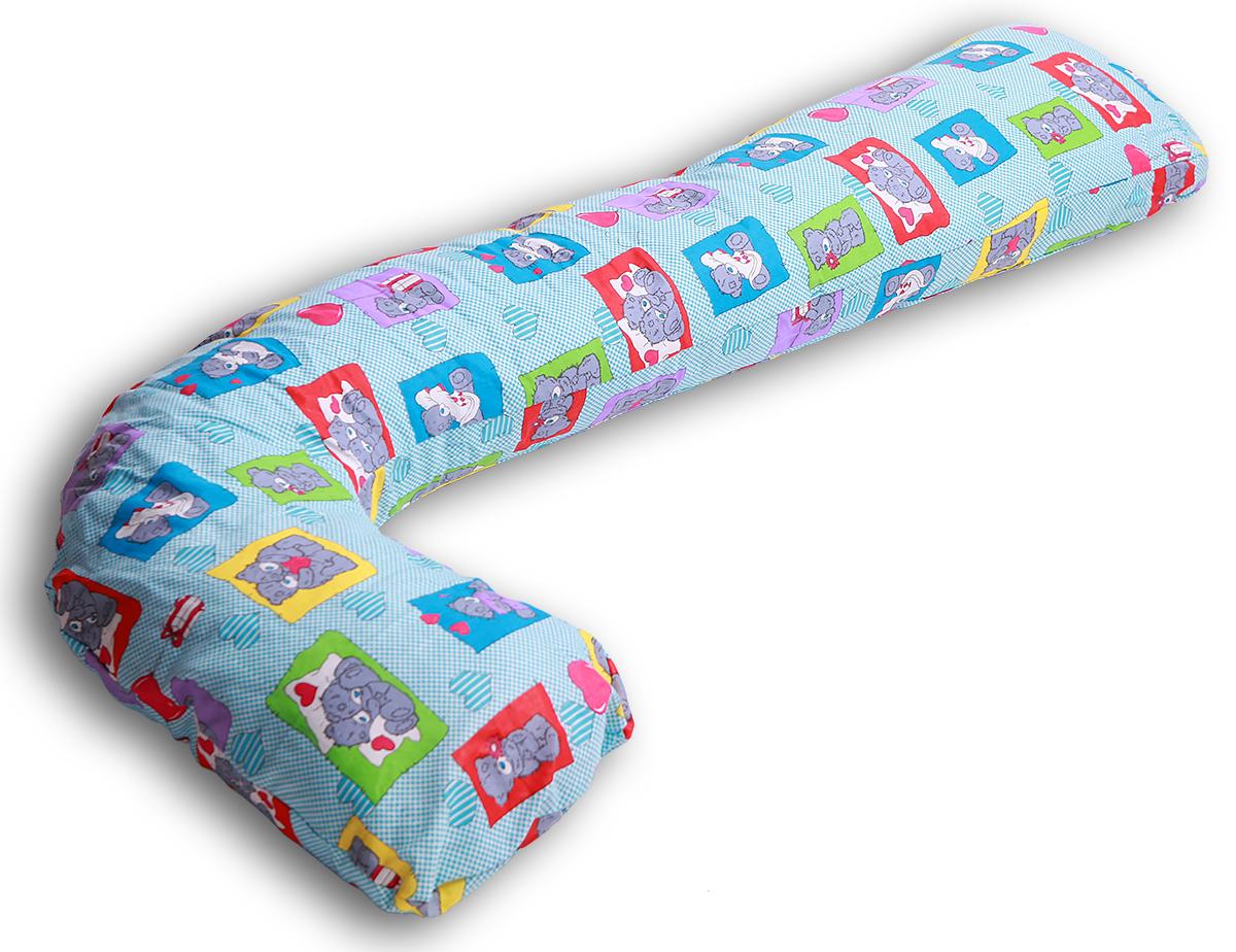Body Pillow Чехол для подушки для беременных L-образный цвет голубойL75х150 мишкиСъемная наволочка на молнии голубого цвета с узором «Мишки Тедди». Материал - плотная бязь, 100% хлопок.