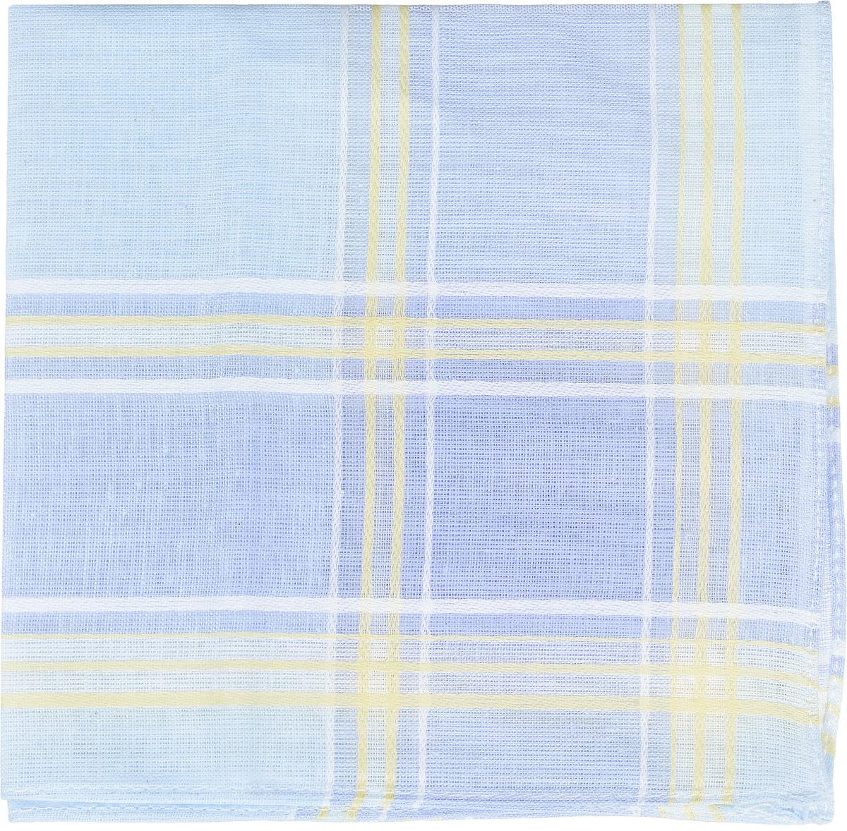 Платок носовой женский Zlata Korunka, цвет: светло-голубой, сиреневый, желтый. 45471. Размер 27 см х 27 см45471_голубой, белый, желтыйЖенский носовой платок Zlata Korunka, изготовленный из натурального хлопка, приятен в использовании и отлично впитывает влагу. Материал не садится и хорошо стирается. Модель оформлена контрастными полосками.