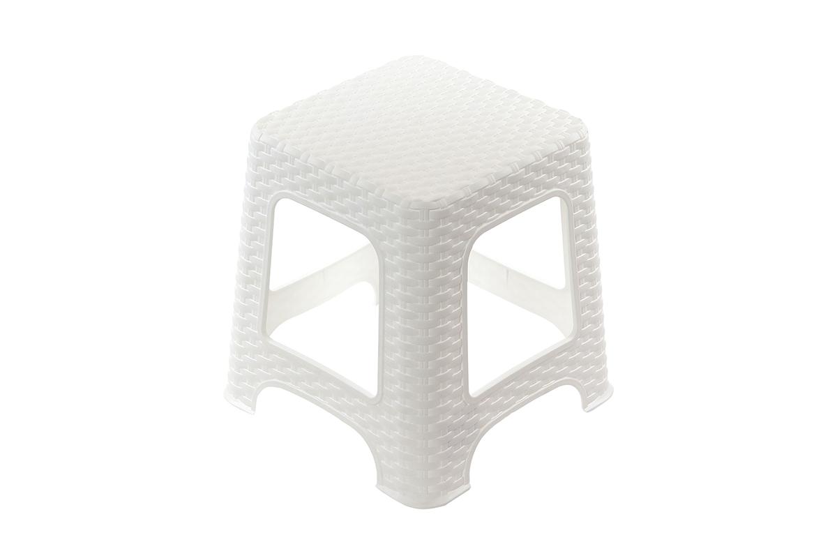 Табурет Violet Плетеный, цвет: белый, 38 х 38 х 45 см810530Легкий и удобный табурет. Можно использовать для дома и дачи. Выполнен из экологически чистого пластика.