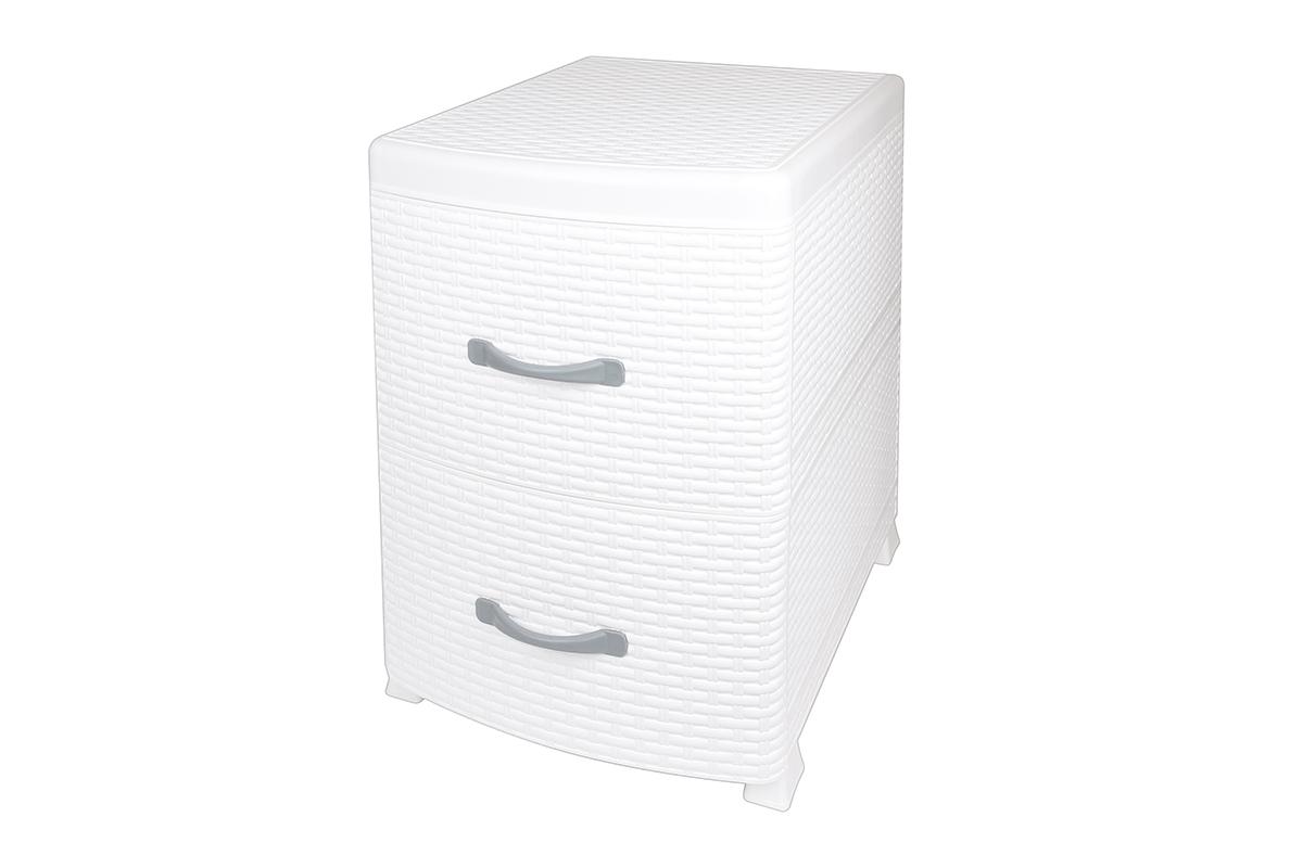 Комод-тумба Violet Ротанг, двухсекционный, цвет: белый, 38 х 48 х 52 см810579Универсальный комод-тумба с 2 выдвижными ящиками. Выполнен из экологически чистого пластика. Идеально подходит для хранения игрушек и других хозяйственных предметов. Может использовать в качестве прикроватной тумбы. Поставляется в разобранном виде.