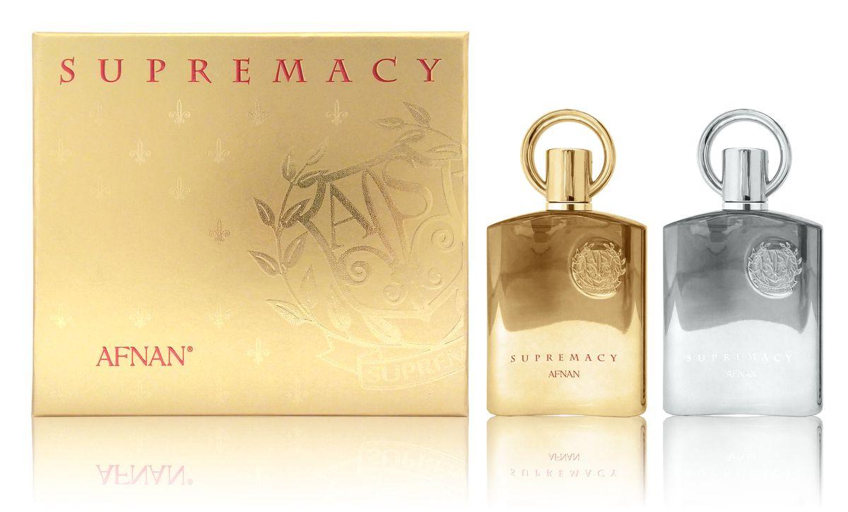 Afnan Парфюмерный Набор Supremacy Gift Set (Supremacy Pour Femme, 100 мл + Supremacy Pour Homme, 100 мл)210551Подарочный набор состоит из двух ароматов для него и для неё SUPREMACY (ПРЕВОСХОДСТВО) парфюмерная вода для женщин Семейство ароматов: удовые, пряные, цветочные Верхние ноты: фиалка, цветы персика, тмин, мускатный орех Ноты «сердца»: пачули, ирис Базовые ноты: амбра, ваниль, бензоин, удовое дерево SUPREMACY POUR HOMME (ПРЕВОСХОДСТВО) парфюмерная вода для мужчин 100 мл Семейство ароматов: древесно-цветочные, мускусные Верхние ноты: яблоко, бергамот, черная смородина, ананас Ноты «сердца»: роза, береза, марокканский жасмин, пачули Базовые ноты: дубовый мох, мускус, амбра, ваниль