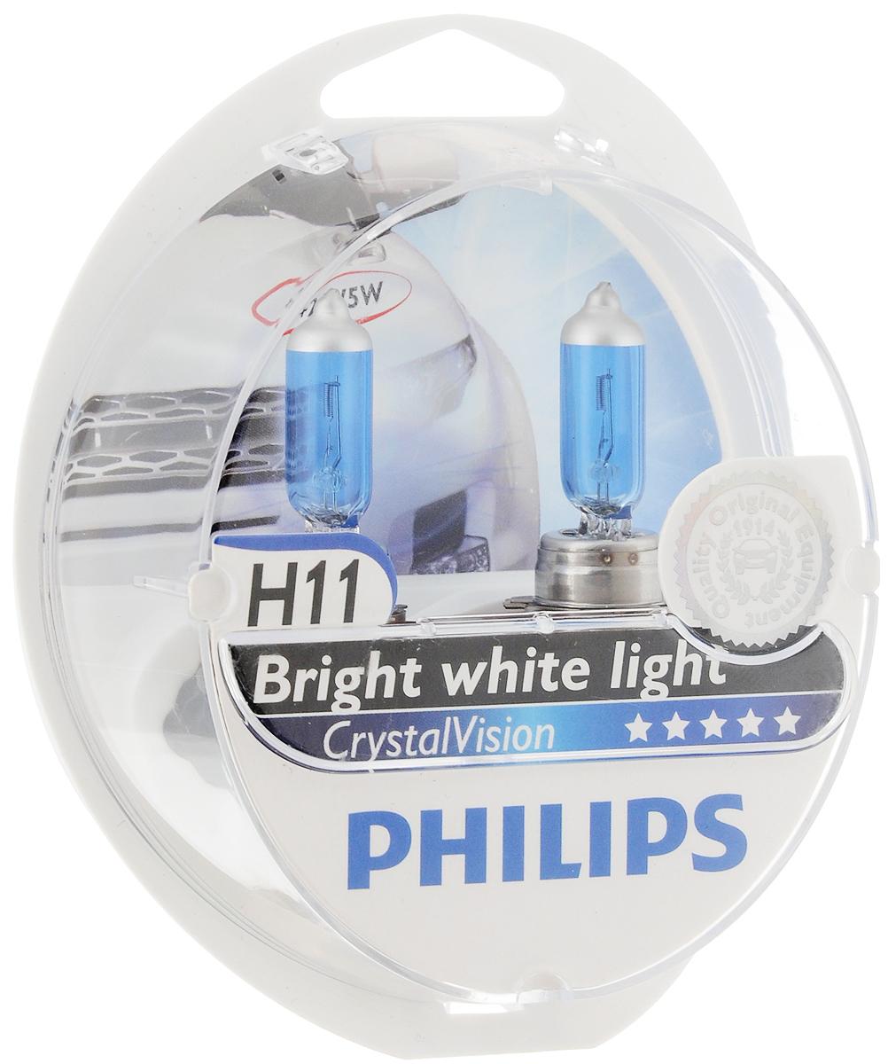 Лампа автомобильная галогенная Philips CrystalVision, для фар, цоколь H11 (PGJ19-2), 12V, 55W + цоколь W5W, 12V, 5W, 2 шт12362CVSMАвтомобильная галогенная лампа Philips CrystalVision произведена из запатентованного кварцевого стекла с УФ фильтром Philips Quartz Glass. Кварцевое стекло Philips в отличие от обычного твердого стекла выдерживает гораздо большее давление смеси газов внутри колбы, что препятствует быстрому испарению вольфрама с нити накаливания. Кварцевое стекло выдерживает большой перепад температур, при попадании влаги на работающую лампу изделие не взрывается и продолжает работать. Лампы Philips CrystalVision имеют мощный белый свет с цветовой температурой 4300К. Разработаны для водителей, которым необходимо яркое освещение на дороге и важен индивидуальный стиль. Увеличенная светоотдача позволяет гораздо лучше различать дорожные знаки и препятствия. Лампы подходят для всех погодных условий, особенно ощутимый визуальный комфорт при поездках в ночное время. Автомобильные галогенные лампы Philips удовлетворят все нужды автомобилистов: дальний свет, ближний свет, передние...