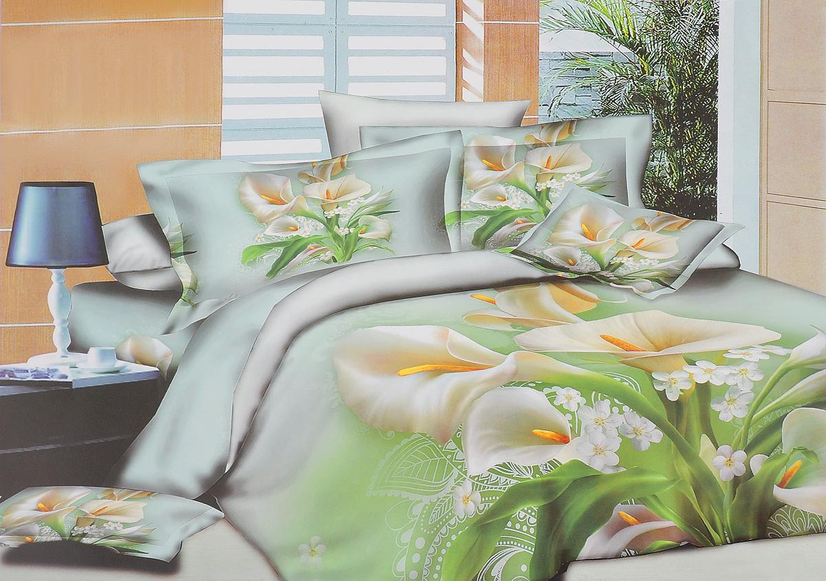 Комплект белья Mango Каллы, 1,5-спальный, наволочки 70х70M-1374-143-150-70Комплект постельного белья Mango Каллы является экологически безопасным для всей семьи, так как выполнен из 100% хлопка. Комплект состоит из пододеяльника, простыни и двух наволочек. Наволочки застегиваются на молнию. Постельное белье оформлено оригинальным рисунком и имеет изысканный внешний вид. Легкая, плотная, мягкая ткань отлично стирается, гладится, быстро сохнет. Рекомендуется стирка в прохладной воде при температуре не выше 40°С.