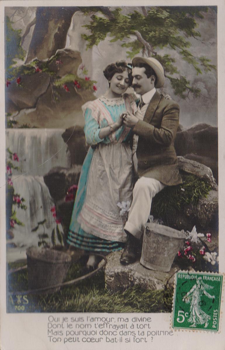 Двое у водопада. Почтовая карточка