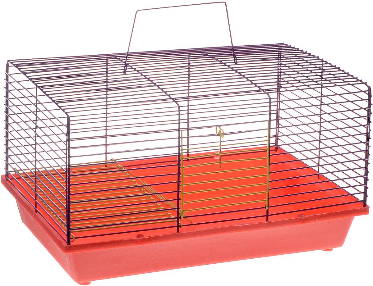 Клетка для хомяка ЗооМарк, 2-этажная, цвет: красный поддон, фиолетовый решетка, 36 х 23 х 20 см111КФДвухэтажная клетка ЗооМарк, выполненная из полипропилена и металла, подходит для хомяков или других небольших грызунов. Она имеет яркий поддон, удобна в использовании и легко чистится. Сверху имеется ручка для переноски. Такая клетка станет уединенным личным пространством и уютным домиком для маленького грызуна.