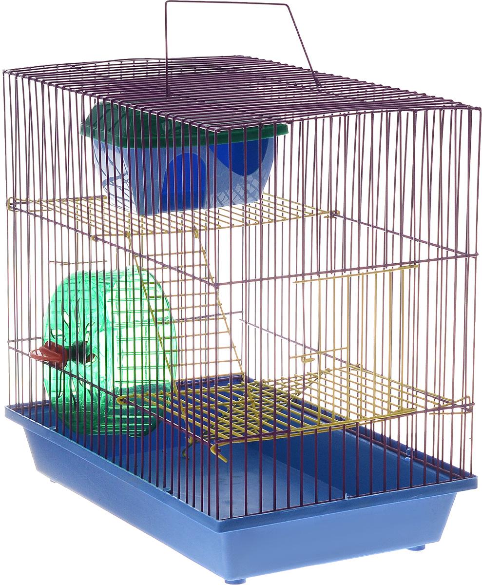 Клетка для грызунов ЗооМарк, 3-этажная, цвет: синий поддон, фиолетовая решетка, желтые этажи, 36 х 23 х 34,5 см135жСФКлетка ЗооМарк, выполненная из полипропилена и металла, подходит для мелких грызунов. Изделие трехэтажное, оборудовано колесом для подвижных игр и пластиковым домиком. Клетка имеет яркий поддон, удобна в использовании и легко чистится. Сверху имеется ручка для переноски. Такая клетка станет уединенным личным пространством и уютным домиком для маленького грызуна.