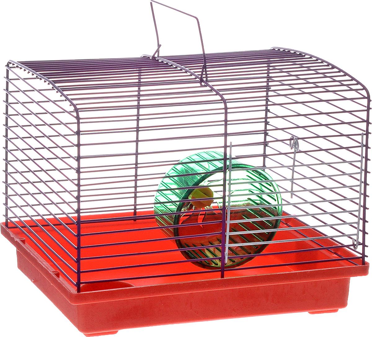 Клетка для хомяка ЗооМарк, с колесом и миской, цвет: красный поддон, фиолетовая решетка, 23 х 18 х 18,5 см511КФКлетка ЗооМарк, выполненная из пластика и металла, подходит для джунгарского хомячка и других мелких грызунов. Она оборудована колесом для подвижных игр и миской. Клетка имеет яркий поддон, удобна в использовании и легко чистится. Такая клетка станет уединенным личным пространством и уютным домиком для маленького грызуна.