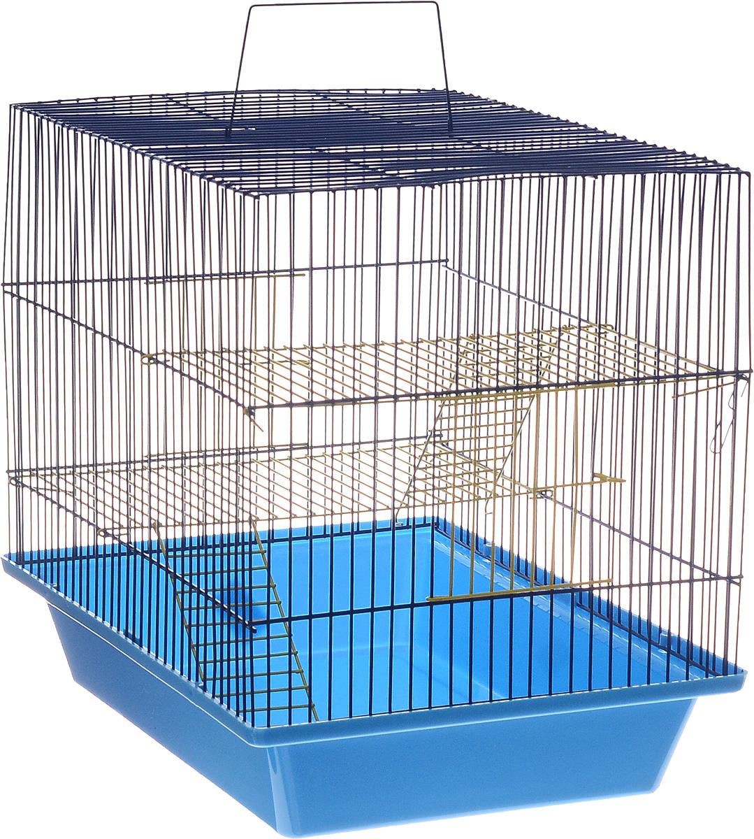Клетка для грызунов ЗооМарк Гризли, 3-этажная, цвет: синий поддон, синяя решетка, желтые этажи, 41 х 30 х 36 см230жССКлетка ЗооМарк Гризли, выполненная из полипропилена и металла, подходит для мелких грызунов. Изделие трехэтажное. Клетка имеет яркий поддон, удобна в использовании и легко чистится. Сверху имеется ручка для переноски. Такая клетка станет уединенным личным пространством и уютным домиком для маленького грызуна.