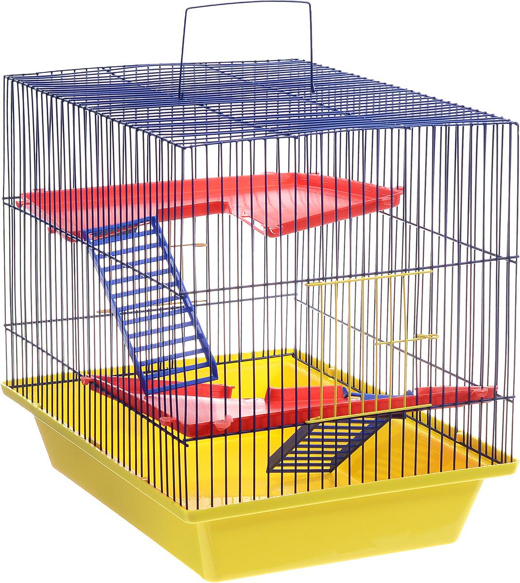 Клетка для грызунов ЗооМарк Гризли, 3-этажная, цвет: желтый поддон, синяя решетка, красные этажи, 41 х 30 х 36 см230ЖСКлетка ЗооМарк Гризли, выполненная из полипропилена и металла, подходит для мелких грызунов. Изделие трехэтажное. Клетка имеет яркий поддон, удобна в использовании и легко чистится. Сверху имеется ручка для переноски. Такая клетка станет уединенным личным пространством и уютным домиком для маленького грызуна.