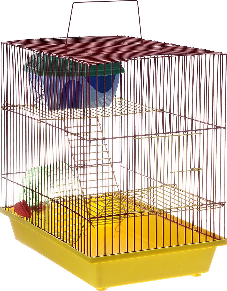 Клетка для грызунов ЗооМарк, 3-этажная, цвет: желтый поддон, красный решетка, желтые этажи, 36 х 23 х 34,5 см135жЖККлетка ЗооМарк, выполненная из полипропилена и металла, подходит для мелких грызунов. Изделие трехэтажное, оборудовано колесом для подвижных игр и пластиковым домиком. Клетка имеет яркий поддон, удобна в использовании и легко чистится. Сверху имеется ручка для переноски. Такая клетка станет уединенным личным пространством и уютным домиком для маленького грызуна.