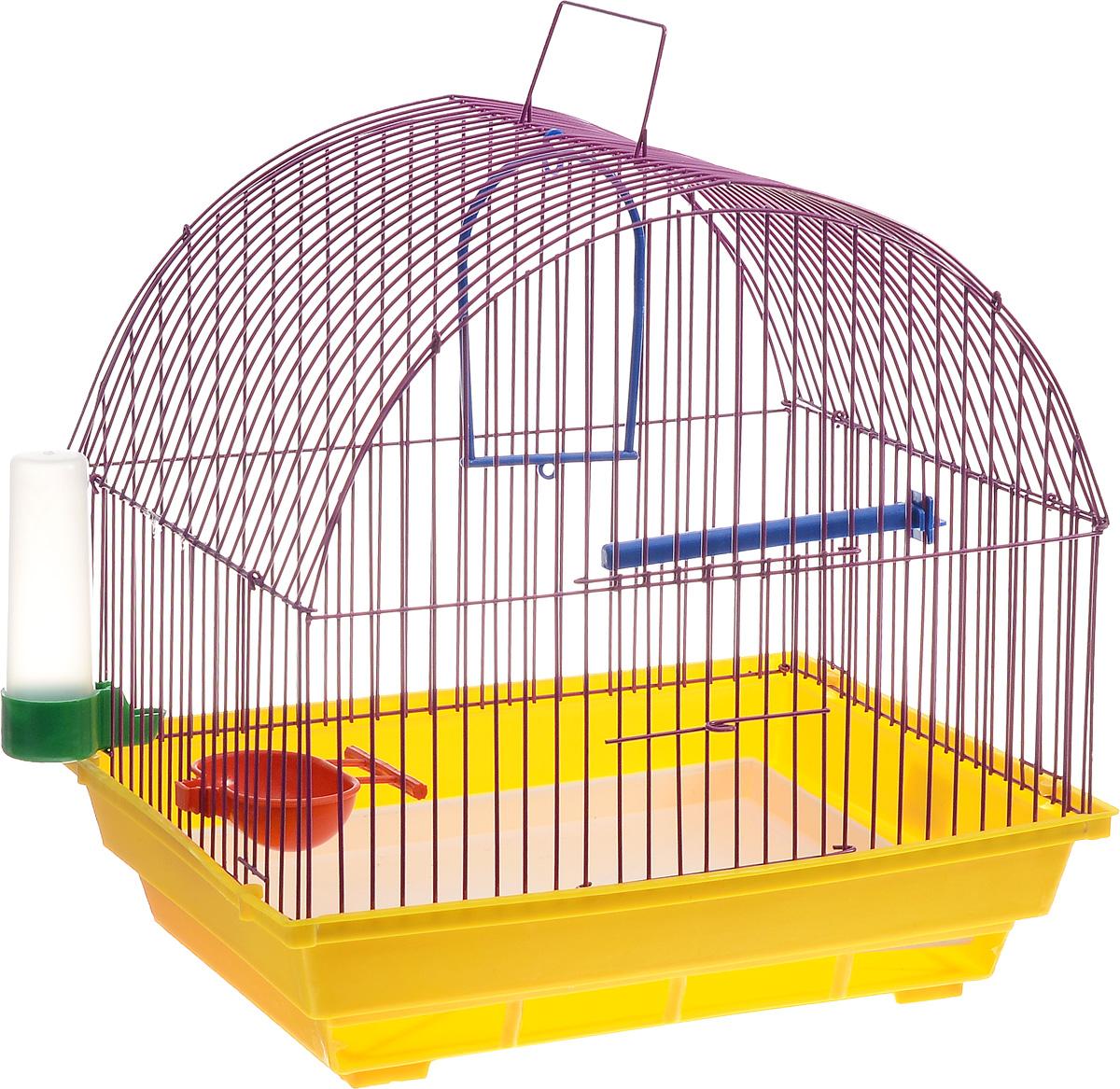 Клетка для птиц ЗооМарк, цвет: желтый поддон, фиолетовая решетка, 35 х 28 х 34 см420ЖФКлетка ЗооМарк, выполненная из полипропилена и металла с эмалированным покрытием, предназначена для мелких птиц. Изделие состоит из большого поддона и решетки. Клетка снабжена металлической дверцей. В основании клетки находится малый поддон. Клетка удобна в использовании и легко чистится. Она оснащена жердочкой, кольцом для птицы, поилкой, кормушкой и подвижной ручкой для удобной переноски.