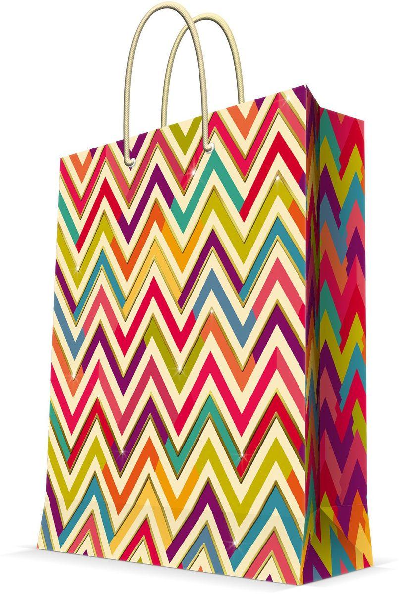 Пакет подарочный Magic Home Разноцветный зигзаг, 26 х 32,4 х 12,7 см44222Бумажный пакет для сувенирной продукции , с ламинацией, с шириной основания 26 см, плотность бумаги 140 г/м2