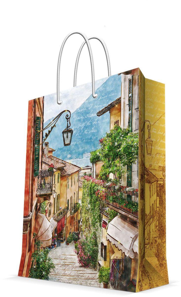 Пакет подарочный Magic Home Итальянский дворик, 26 х 32,4 х 12,7 см44226Бумажный пакет для сувенирной продукции , с ламинацией, с шириной основания 26 см, плотность бумаги 140 г/м2