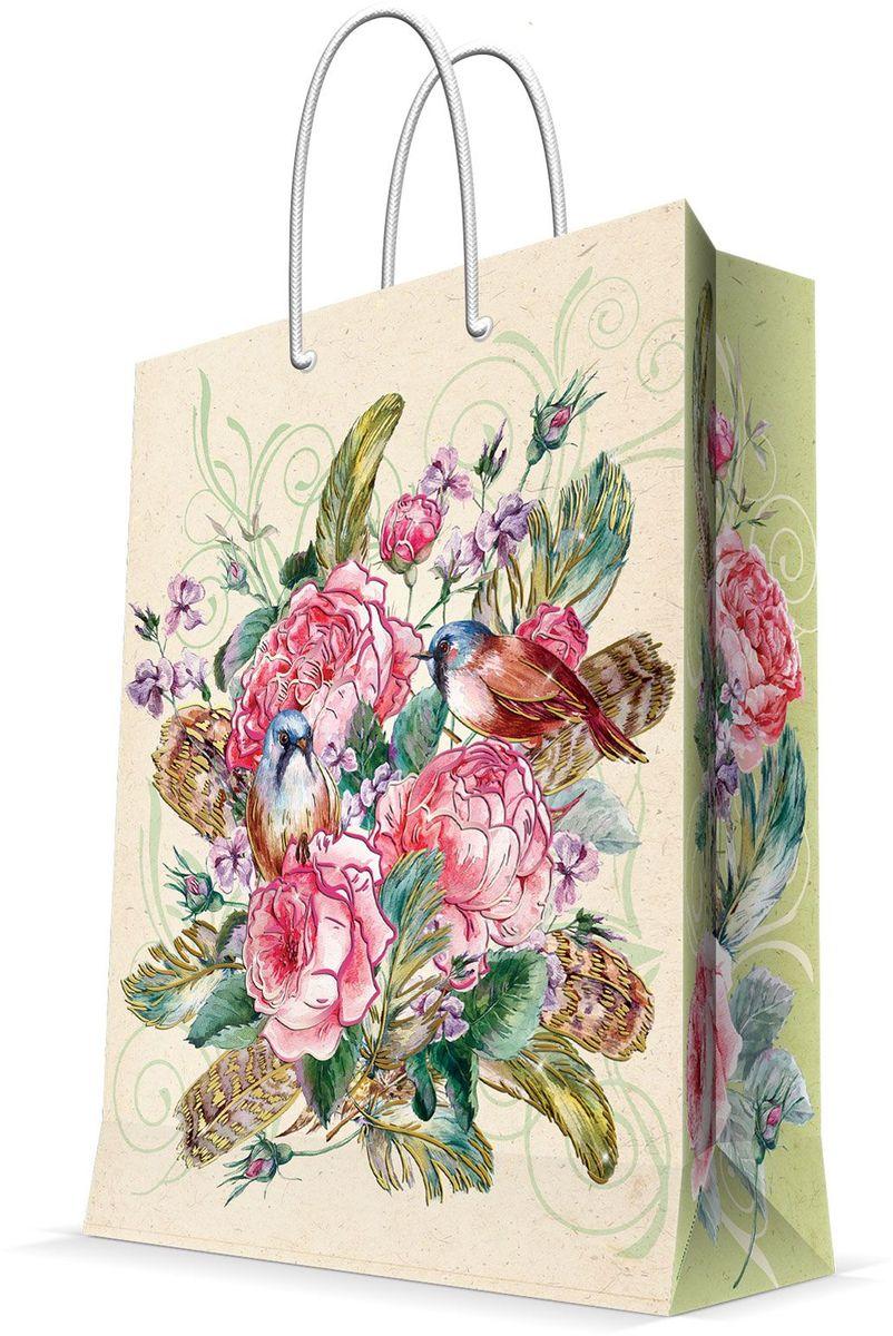 Пакет подарочный Magic Home Розовый куст, 26 х 32,4 х 12,7 см44227Бумажный пакет для сувенирной продукции , с ламинацией, с шириной основания 26 см, плотность бумаги 140 г/м2