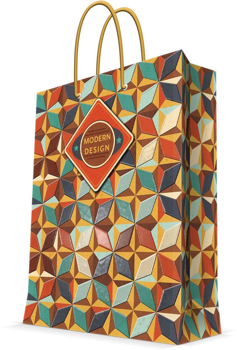 Пакет подарочный Magic Home Модерн, 26 х 32,4 х 12,7 см44232Бумажный пакет для сувенирной продукции , с ламинацией, с шириной основания 26 см, плотность бумаги 140 г/м2