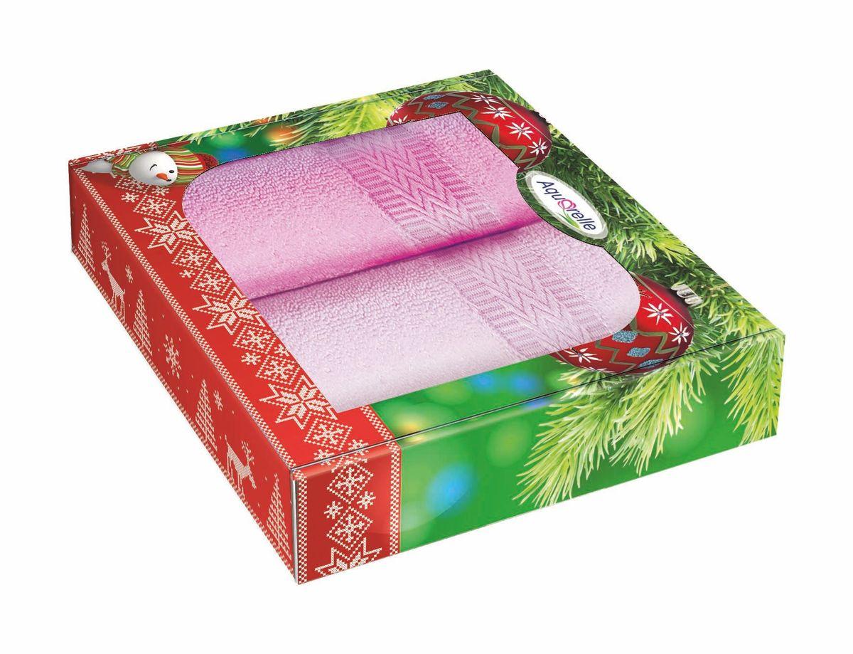 Набор полотенец Aquarelle Настроение, цвет: розовый, орхидея, 50 х 90 см, 2 шт706222