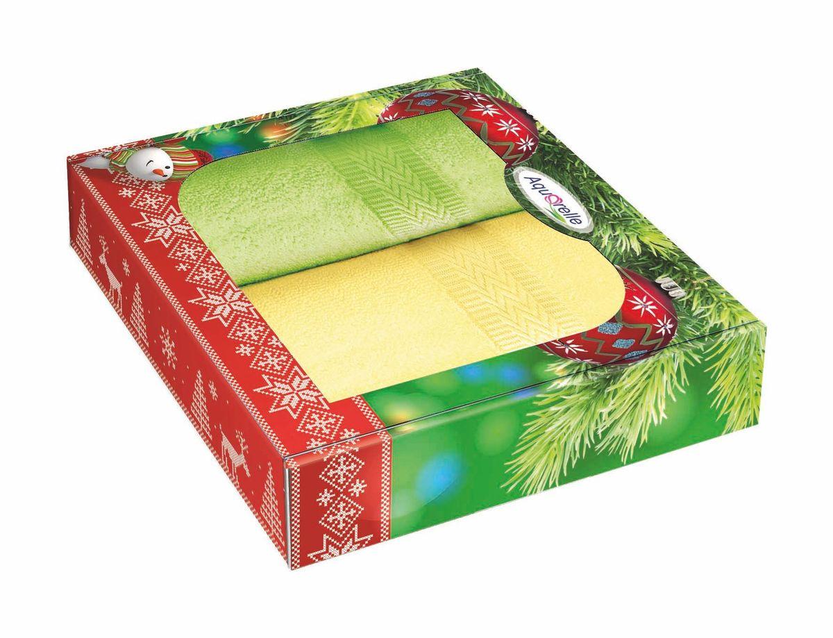 Набор полотенец Aquarelle Настроение, цвет: светло-желтый, травяной, 50 х 90 см, 2 шт706223