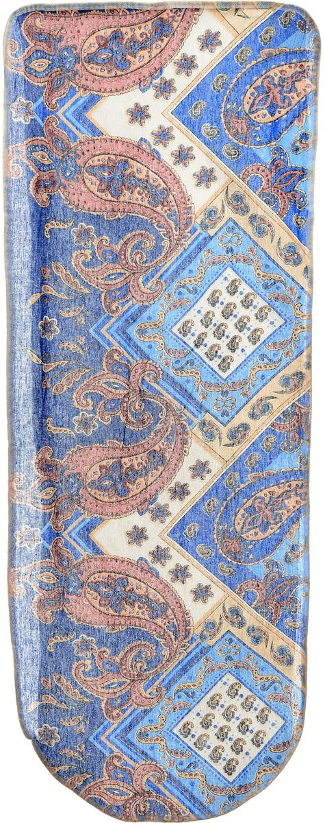 Чехол для гладильной доски Eva Грация, цвет: синий, розовый, бежевый, 125 х 47 смЕ13_синий, огурцыЧехол Eva Грация, выполненный из хлопка с поролоновым слоем, продлит срок службы вашей гладильной доски. Чехол снабжен стягивающим шнуром, при помощи которого вы легко отрегулируете оптимальное натяжение чехла и зафиксируете его на рабочей поверхности гладильной доски. Размер чехла: 125 х 47 см. Максимальный размер доски: 116 х 47 см.