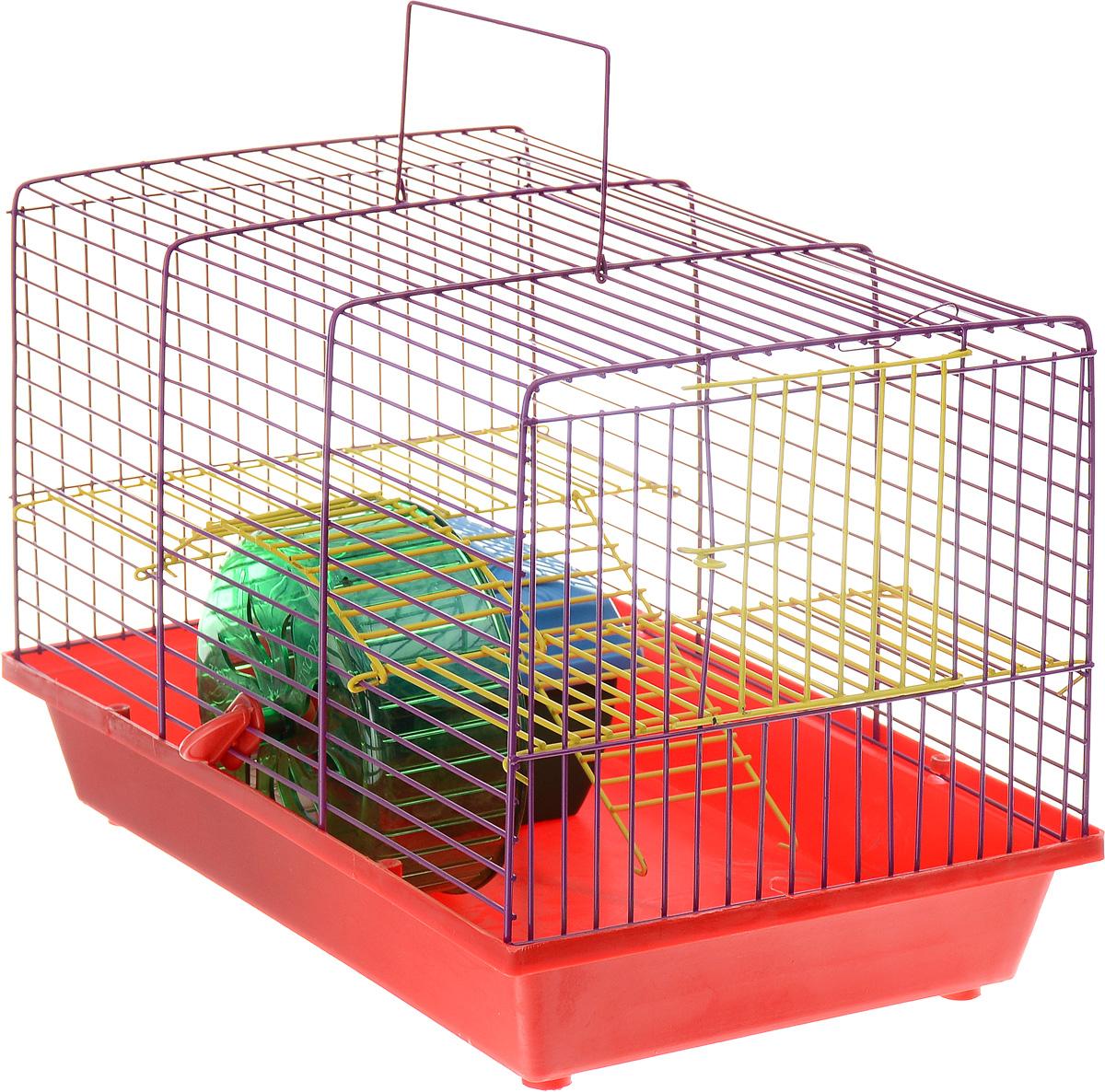 Клетка для грызунов Зоомарк Венеция, 2-этажная, цвет: красный поддон, фиолетовая решетка, желтый этаж, 36 х 23 х 24 см145кКФКлетка Венеция, выполненная из полипропилена и металла, подходит для мелких грызунов. Изделие двухэтажное, оборудовано колесом для подвижных игр и пластиковым домиком. Клетка имеет яркий поддон, удобна в использовании и легко чистится. Сверху имеется ручка для переноски. Такая клетка станет уединенным личным пространством и уютным домиком для маленького грызуна.