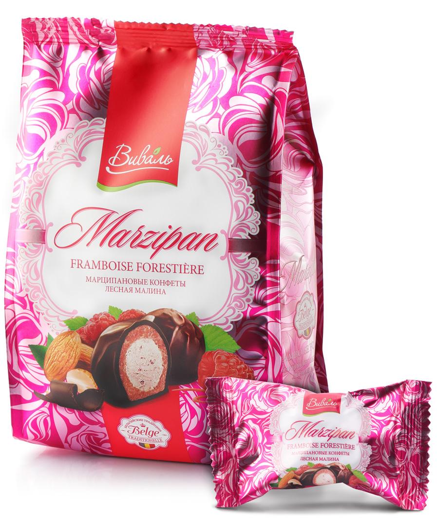Виваль марципановые конфеты с начинкой Лесная малина, 140 г4620000679295белки -7,3; жиры -39,9; углеводы-45,6