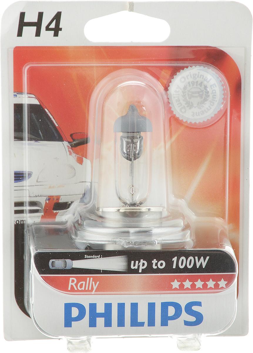 Лампа галогенная автомобильная Philips Rally, цоколь H4, 12V, 100/90W12569RAB1 (бл.)Галогеновая лампа повышенной мощности Philips Rally предназначена исключительно для гонщиков, любителей ралли и автомобильных гонок. Мощный световой поток не допускает использования этих ламп на дорогах общей сети. Потребляемая мощность и температурный режим требуют специальной установки. Напряжение: 12V. Цоколь: H4.
