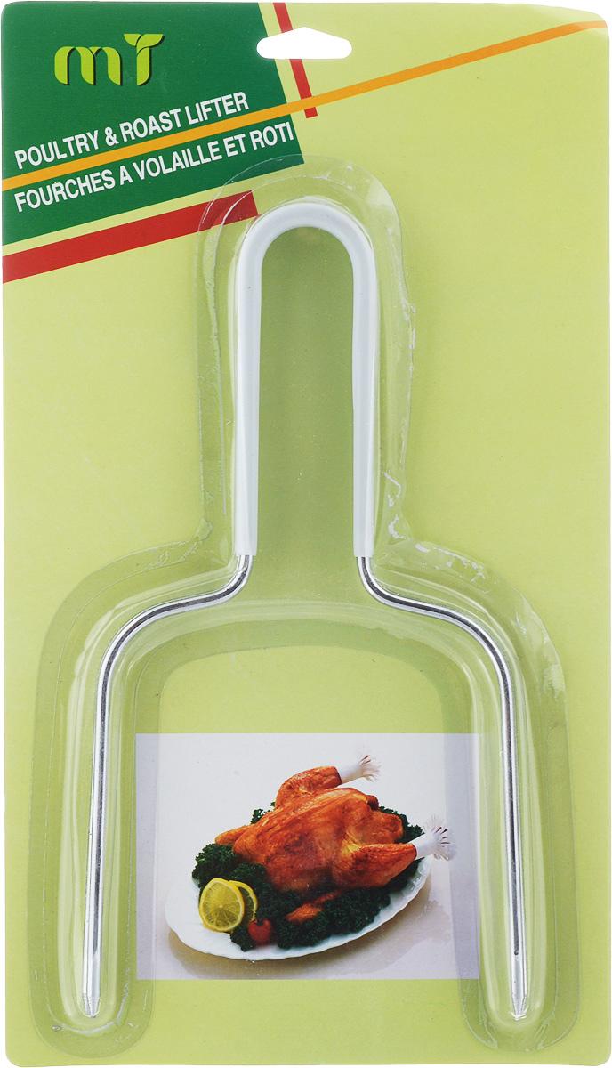 Держатель для курицы House & Holder, цвет: стальной, белый, 2 штAAE308Держатель для курицы House & Holder, выполненный из нержавеющей стали, станет незаменимым помощником на вашей кухне. Теперь вы сможете без особого труда переложить приготовленную курицу на блюдо перед подачей на стол. В комплект входят два держателя. Держатель House & Holder очень удобен в использовании и, несомненно, станет отличным дополнением к вашему кухонному инвентарю. Размер держателя: 11,2 см х 22,5 см х 0,5 см.