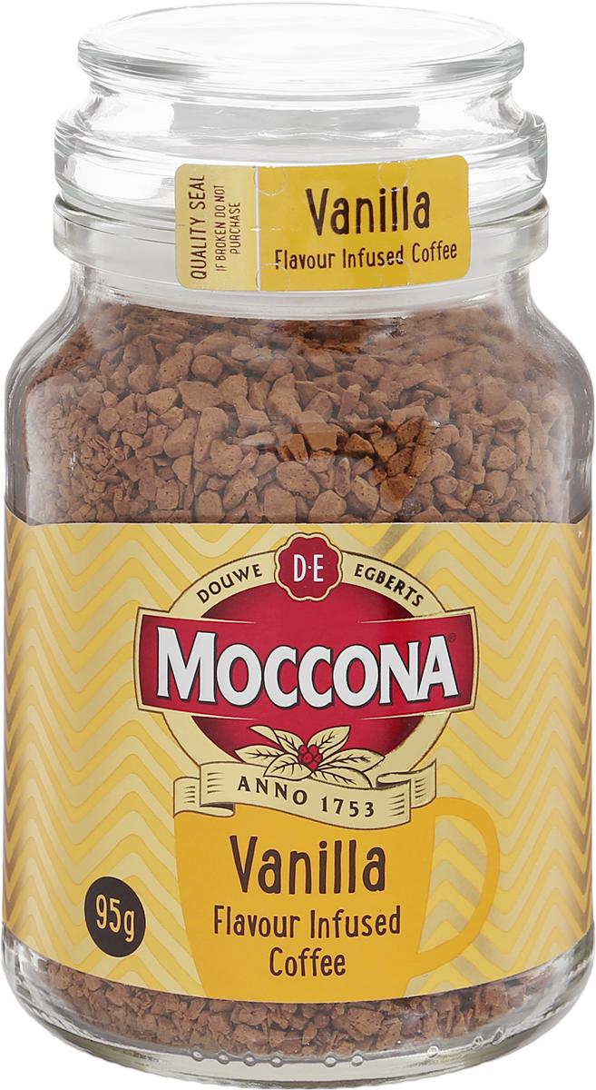 Moccona Vanilla кофе растворимый с ароматом ванили, 95 г (стеклянная банка)8711000309087Почувствуйте лёгкий и нежный привкус ванили, который добавит экзотики и гармонии в Вашу чашку кофе Moccona Vanilla.