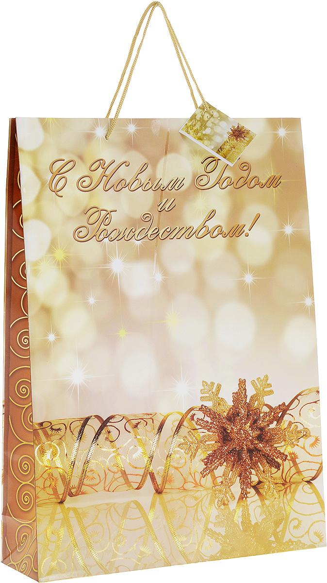 Пакет подарочный Magic Time, цвет: золотистый, 33 х 45,7 х 10,2 см. 2762227622Подарочный пакет Magic Time, изготовленный из плотной бумаги, станет незаменимым дополнением к выбранному подарку. Для удобной переноски на пакете имеются две ручки из шнурков. Подарок, преподнесенный в оригинальной упаковке, всегда будет самым эффектным и запоминающимся. Окружите близких людей вниманием и заботой, вручив презент в нарядном, праздничном оформлении.
