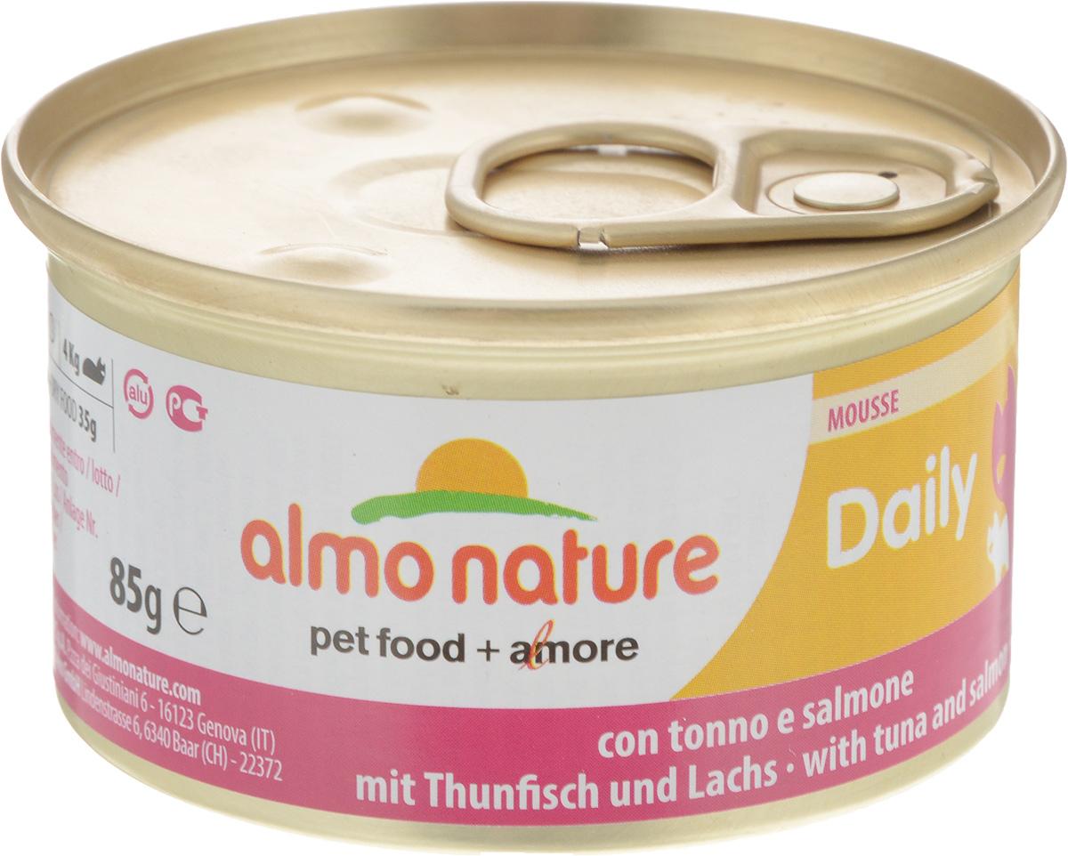Консервы для кошек Almo Nature Daily Menu, мусс с тунцом и лососем, 85 г20352Приятный сюрприз для вашей кошки - нежное мясо, превращенное в деликатный мусс с использованием ингредиентов высочайшего качества. Любая привереда замурлыкает от удовольствия, если у нее в миске окажется такой деликатес как консервы Almo Nature Daily Menu. Особый метод приготовления консервированного корма Almo Nature сохраняет привлекательный аромат и свежесть продукта, ведь мясо приготавливается в собственном бульоне и только затем превращается в мусс. Минералы, также присутствующие в составе, особенно медь, участвуют в формировании костной и тканевой системе, выполняют функции антиоксиданта. Состав: мясо и его производные, рыба и ее производные (тунец 4%, лосось 4%), минералы, экстракт растительного белка. Пищевые добавки: витамин A 1110 IU/кг, витамин D3 140 IU/кг, витамин E 10 мг/кг, таурин 490 мг/кг,сульфат меди пентагидрат 4,4 мг/кг (Cu 1,1 мг/кг); технологические добавки: камедь кассии 3000 мг/кг. Пищевая...
