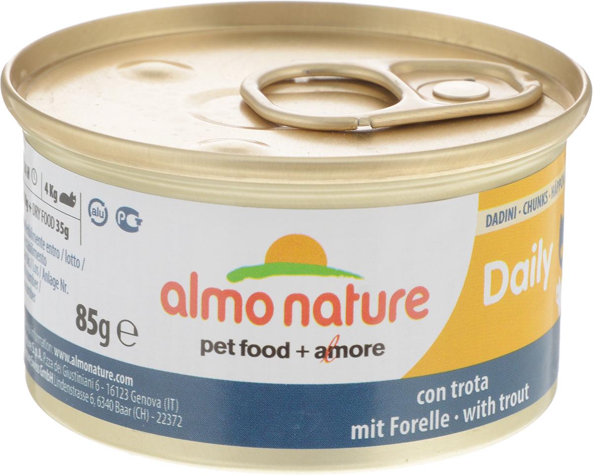 Консервы для кошек Almo Nature Daily Menu, с форелью, 85 г24064Almo Nature Daily Menu - нежное мясо, превращенное в деликатный мусс с использованием ингредиентов высочайшего качества. Любая привереда замурлыкает от удовольствия, если у нее в миске окажется такой деликатес. Особый метод приготовления консервированного корма Almo Nature Daily Menu сохраняет привлекательный аромат и свежесть продукта, ведь мясо приготавливается в собственном бульоне и только затем превращается в мусс. Минералы, также присутствующие в составе, особенно медь, участвуют в формировании костной и тканевой системе, выполняют функции антиоксиданта. Состав: свежая рыба (из которой форель 14%), минералы, сахар. Пищевые добавки: витамин А мин. 1110 МЕ/кг, витамин D3 140 МЕ/кг, витамин Е 10 мг/кг, таурин 410 мг/кг, сульфат меди пентагидрат 3,2 мг/кг (Cu 0,8 мг/кг). Товар сертифицирован.