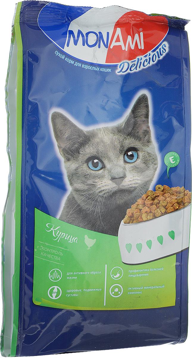 Корм сухой для кошек Mon Ami, с мясом курицы, 400 г59318Сухой корм для кошек Mon Ami - это полноценное сбалансированное питание для кошек, разработанное с использованием современных технологий. Особенности рациона: Необходимое сочетание ингредиентов для достижения правильной усвояемости питательных веществ организмом. Источник линолевой кислоты и правильного уровня витаминов группы В благотворно влияют на кожу и шерсть. Таурин - для здоровья глаз и сердца. Состав: злаки (пшеница, рис), экстракт белка растительного происхождения, мясо и продукты животного происхождения (в т.ч. курица), подсолнечное масло, минеральные добавки, гидролизованная печень, пульпа сахарной свеклы (жом), витамины, пивные дрожжи, таурин, антиоксидант. Анализ: сырой протеин 30%, сырой жир 10%, сырая зола 7%, сырая клетчатка 2,5%, влажность 10%, фосфор 0,9%, кальций 1,05%, витамин А 5000 МЕ/кг, витамин Д 500 МЕ/кг, витамин Е 30 мг/кг. Энергетическая ценность: 333 ккал/100 г. Товар сертифицирован.