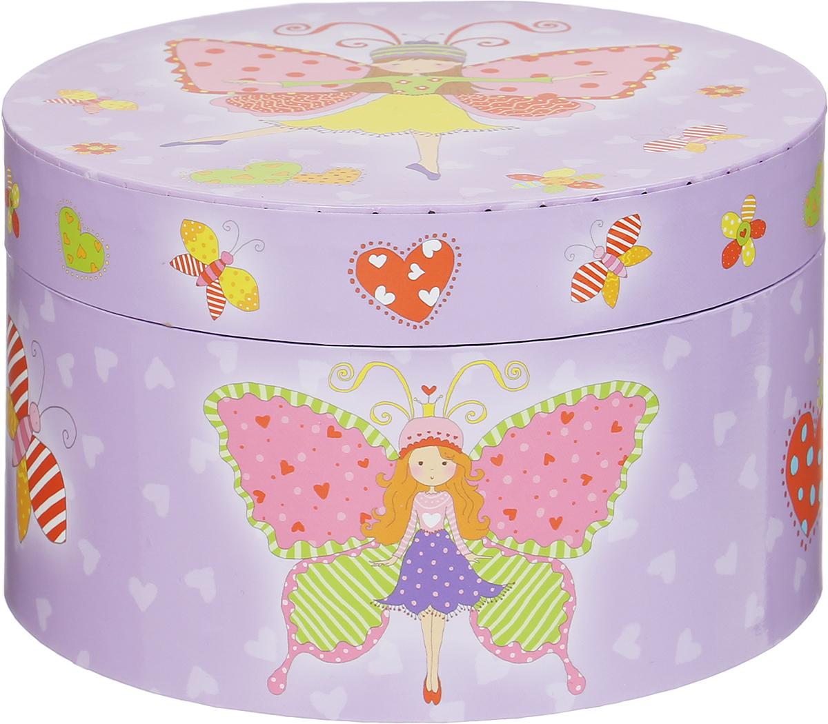 Jakos Музыкальная шкатулка Бабочка614000_сиреневый/феяМузыкальная шкатулка Jakos Бабочка непременно понравится вашей девочке! Малышка сможет хранить в ней украшения, дорогие ей мелочи и свои секреты. Шкатулка украшена милым рисунком, изображающим очаровательную балерину в виде бабочки. Шкатулка оформлена в нежных цветах и прекрасно впишется в любой интерьер. Внутри шкатулки расположено зеркальце, которое пригодится каждой маленькой моднице, и фигурка бабочки на пружинке. Если привести в действие механизм, то фигурка начнет кружиться и зазвучит классическая музыка. Музыкальная шкатулка для украшений станет оригинальным и полезным подарком, она понравится любой девочке.