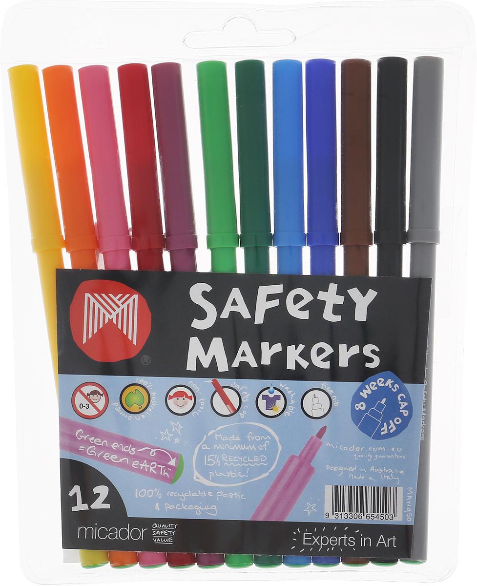 Micador Фломастеры 12 цветовMAW450Фломастеры Micador классических цветов на водной основе оценят не только маленькие художники, но их родители. Фломастеры не содержат спирта, растворителей и токсичных компонентов, поэтому полностью безопасны для маленьких детей. Фломастеры имеют яркие насыщенные цвета, чернила не расплываются на бумаге, что позволяет делать четкие линии. Изготовлены по запатентованной технологии Easy Wash. Отлично смываются как с кожи, так и с других поверхностей (ткани, мебели), что обязательно оценят родители. Фломастеры долговечные они не высыхают с открытым колпачком до 8 недель, при необходимости легко заправляются водой, а это значит, вам не придется покупать все новые и новые фломастеры долгое время. Рисование развивает творческие способности, воображение, логику, память, мышление. Австралийский бренд Micador - эксперт в товарах для детского творчества с 1954 года.